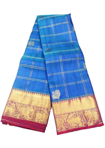 Blue Kanchipuram Silk Saree - EU3711 ARRS Silks