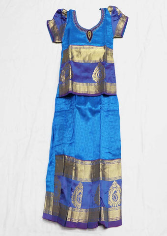 Blue Pure silk Stitched pattu pavadai - FU568 ( Age-1 year and below) ARRS Silks