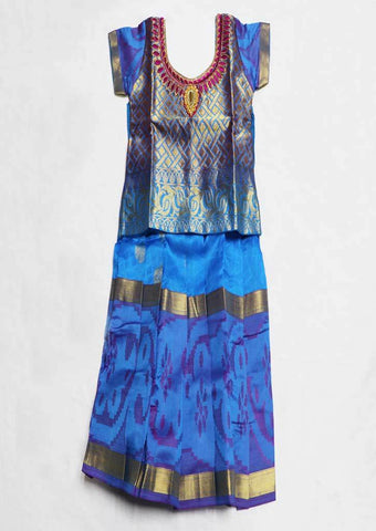 Blue Pure silk Stitched pattu pavadai - FU624 ( Age-1 year and below) ARRS Silks