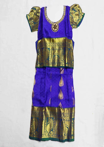 Blue Pure silk Stitched pattu pavadai - FU634 ( Age-1 year and below) ARRS Silks