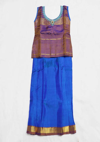 Blue Pure silk Stitched pattu pavadai - FU658 ( Age-1 year and below) ARRS Silks