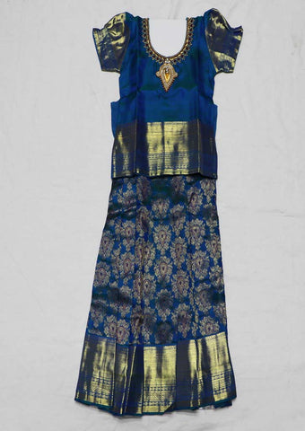 Blue Pure silk Stitched pattu pavadai - FX12530 ( Age-2 years) ARRS Silks