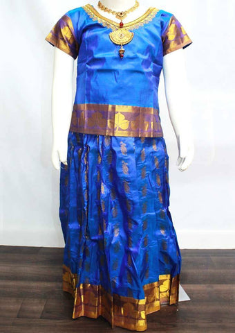 Blue Readymade Pure silk pavadai  - FP14210 (Age - 6 years) ARRS Silks