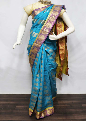 Blue semi silk saree  - FU47896 ARRS Silks