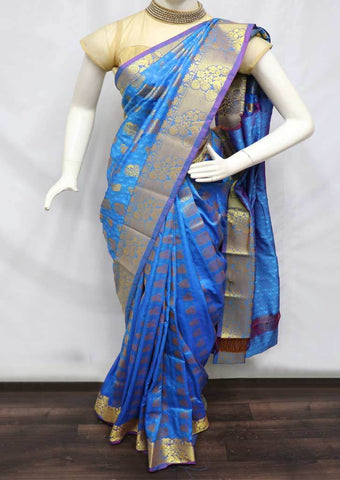 Blue semi silk saree  - FZ16888 ARRS Silks