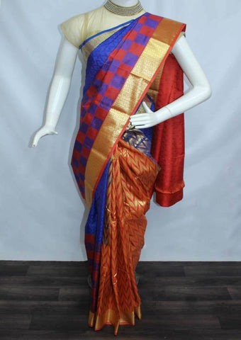Blue with Dark Orange Semi Silk Saree- FJ4528 ARRS Silks