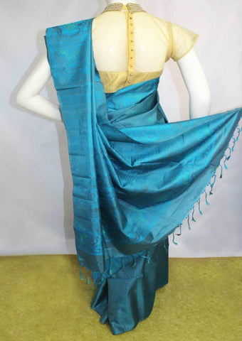 Blue with Gray Soft Silk Saree - FL85871 ARRS Silks