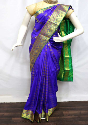 Blue With Green Blue semi silk saree  - FS16703 ARRS Silks