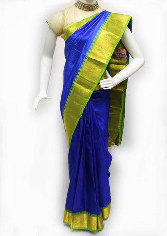 Blue with Green Kanchipuram Silk Saree - FQ31411 ARRS Silks