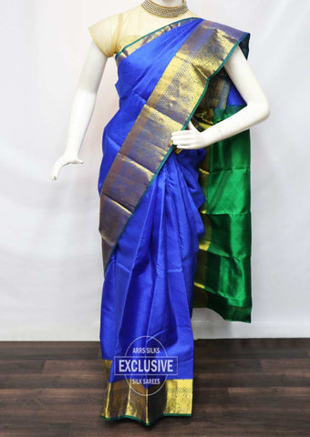 Blue With Green Kanchipuram Silk Saree - FR62407 ARRS Silks