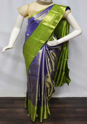 Blue with Green Pattu Saree - 9KA7946 ARRS Silks