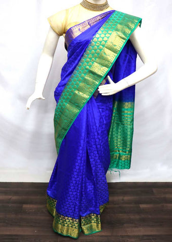 Blue with Green Pure Raw Silk Saree - 003 ARRS Silks