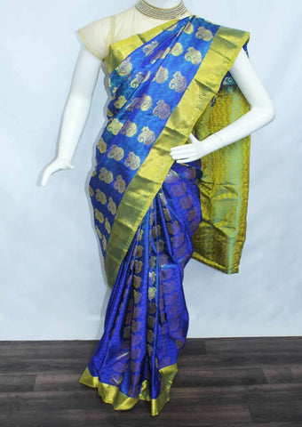 Blue  with Green Semi Silk Saree- FL6679 ARRS Silks