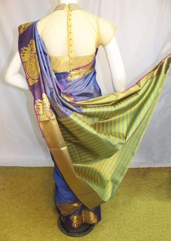 Blue with Green Semi Silk Saree- FM97681 ARRS Silks