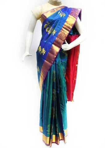 Blue with Green Shade Kanchipuram Silk Saree - FS19883 ARRS Silks