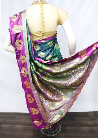 Blue with Green Shade Semi Silk Saree - FU1652 ARRS Silks