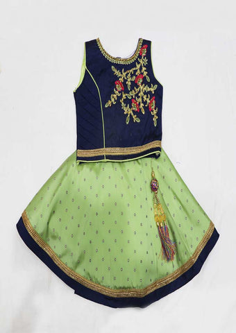 Blue With Green Skirt And Top - GB1153 (Size : Below 1 Year ) ARRS Silks