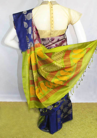 Blue with Green Soft Silk Saree - FL84108 ARRS Silks