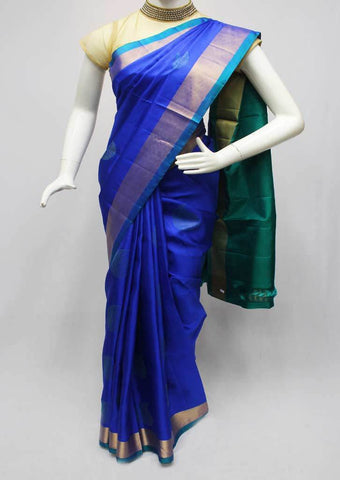 Blue With Green Soft Silk Saree -FQ38952 ARRS Silks