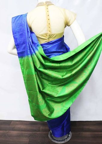 Blue with Green Soft Silk Saree - FU45358 ARRS Silks
