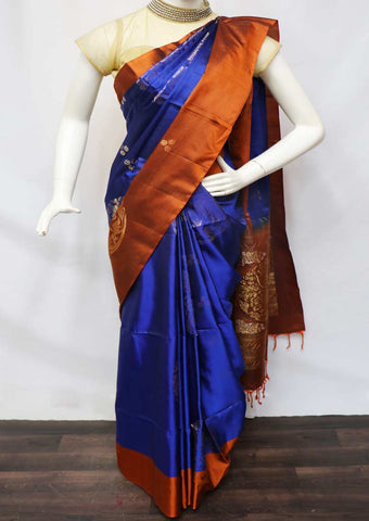 Blue with Honey color Soft Silk Saree - GB42876 ARRS Silks