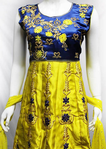 Blue with Lemon Yellow Readymade Salwar-FR12978 ARRS Silks