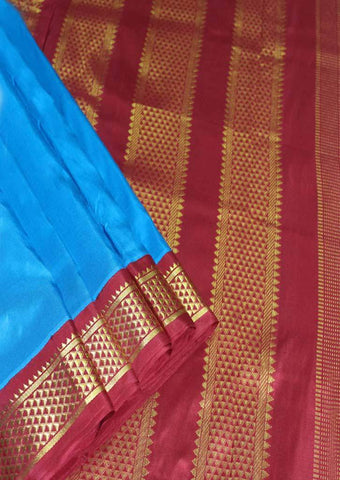 Blue with Maroon Color 10.5 Yards Silk Saree - FO30346 ARRS Silks