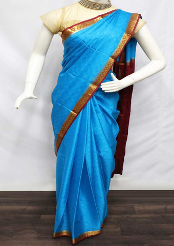 Blue With Maroon Mysore Silk Saree - GD28877 ARRS Silks