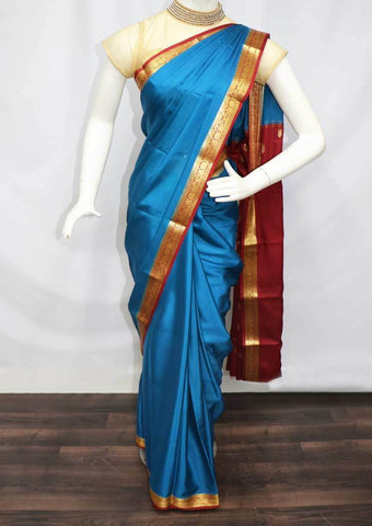 Blue with Maroon Mysore Silk Saree - SAM3327 ARRS Silks