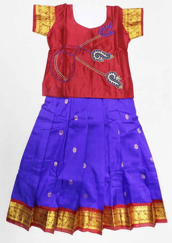 Blue with Maroon Pure silk Stitched pattu pavadai - FX12501 ( Age-3 years) ARRS Silks