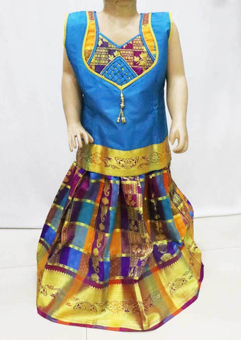 Blue with Multi color  Pattu Pavadai - FR116627  (Size : 5 Years ) ARRS Silks