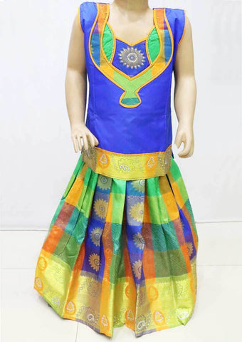 Blue with Multi color Pattu Pavadai - FR21701 (Size : 4 Years ) ARRS Silks