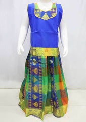 Blue with Multi color Pattu Pavadai - FR21887   (Size : 8 Years ) ARRS Silks