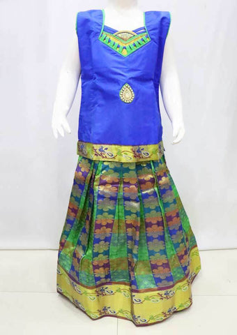 Blue with Multi color  Pattu Pavadai - FU3306  (Size : 11 Years ) ARRS Silks