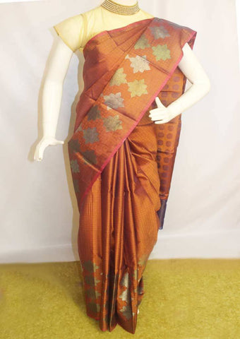 Blue with Orange Shade Organza Cotton Sarees- F087562 ARRS Silks