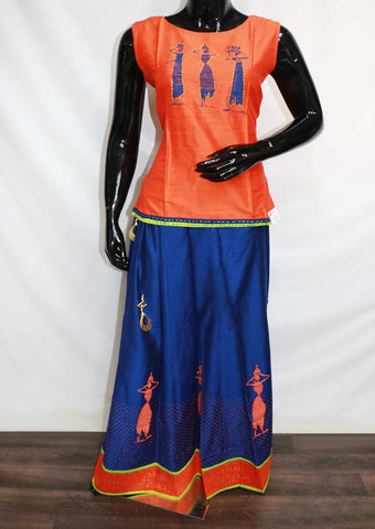 Blue With Orange Skirt & Tops - GE46110 ARRS Silks