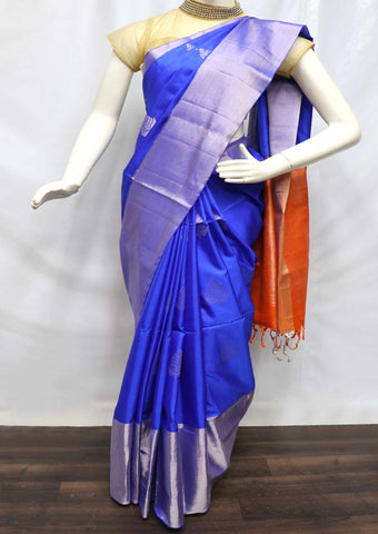 Blue with Orange Soft Silk Saree - FQ110849 ARRS Silks