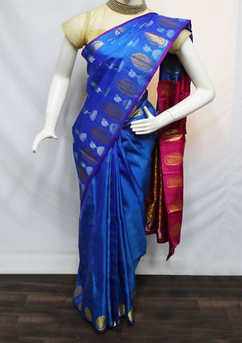Blue With Pink Kanchipuram Silk Saree - 9KA371 ARRS Silks