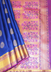 Blue With Pink Kanchipuram Silk Saree- FJ19036 ARRS Silks