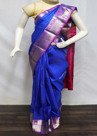 Blue With Pink Kanchipuram Silk Saree - FL87150 ARRS Silks