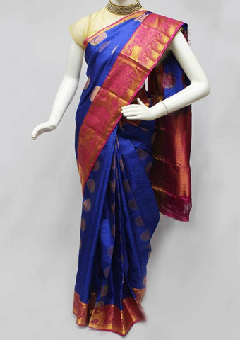 Blue with Pink Kanchipuram Silk Saree -FN68378 ARRS Silks