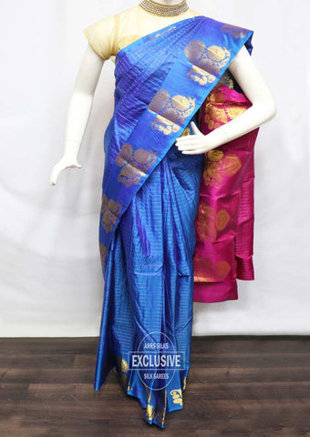 Blue With Pink Kanchipuram Silk Saree - FQ111692 ARRS Silks