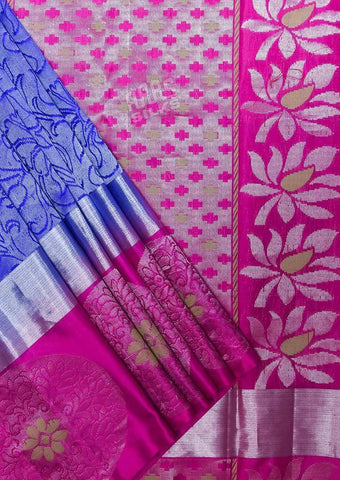 Blue with Pink Kanchipuram Silk Saree-FQ39016 ARRS Silks