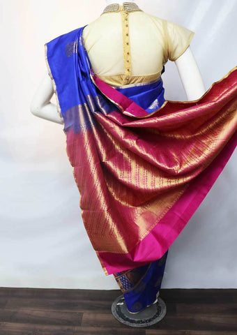 Blue With Pink Kanchipuram Silk Saree -HAZ22358 ARRS Silks