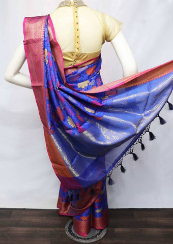 Blue with Pink Organza Cotton Sarees- FV9905 ARRS Silks
