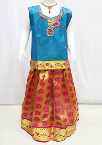 Blue with Pink  Pattu Pavadai - FQ103780  (Size : 11 Years ) ARRS Silks