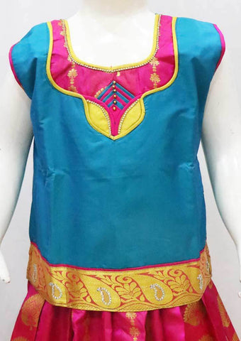 Blue with Pink Pattu Pavadai -FR21950  (Size : 8 Years ) ARRS Silks