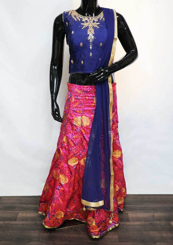 Blue With Pink Pochampalli Crop Tops - FR88533 ARRS Silks
