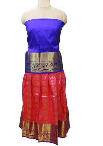 Blue With Pink Pure silk pavadai - FI10784 ARRS Silks