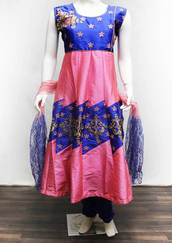 Blue with Pink Readymade Salwar-FR116889 ARRS Silks